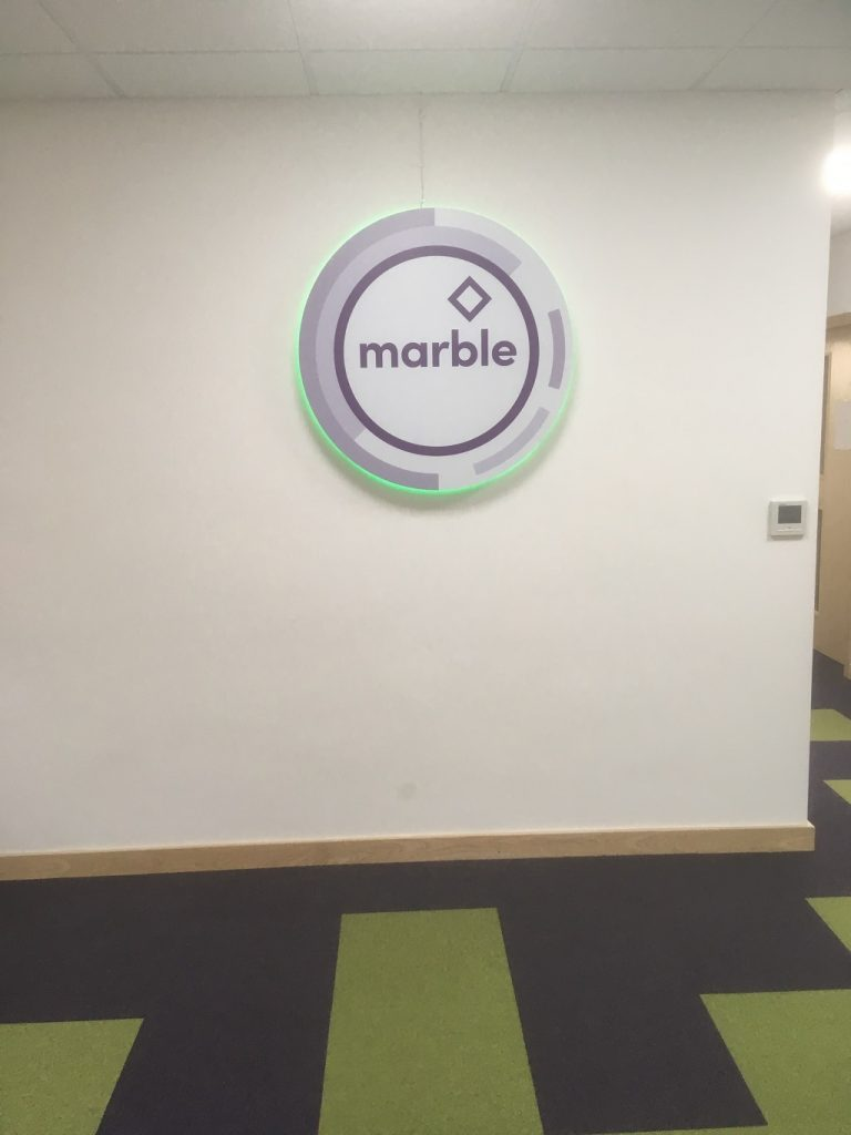 Project Signs - Marble LED Stand Off Logo