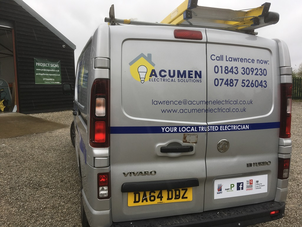 Project Signs - Acumen Electrical Solutions Van Back
